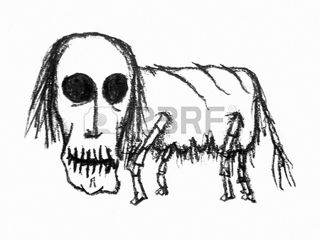 450x338 Pencil Drawing Raster Artwork Depicting An Dark Scary Monster