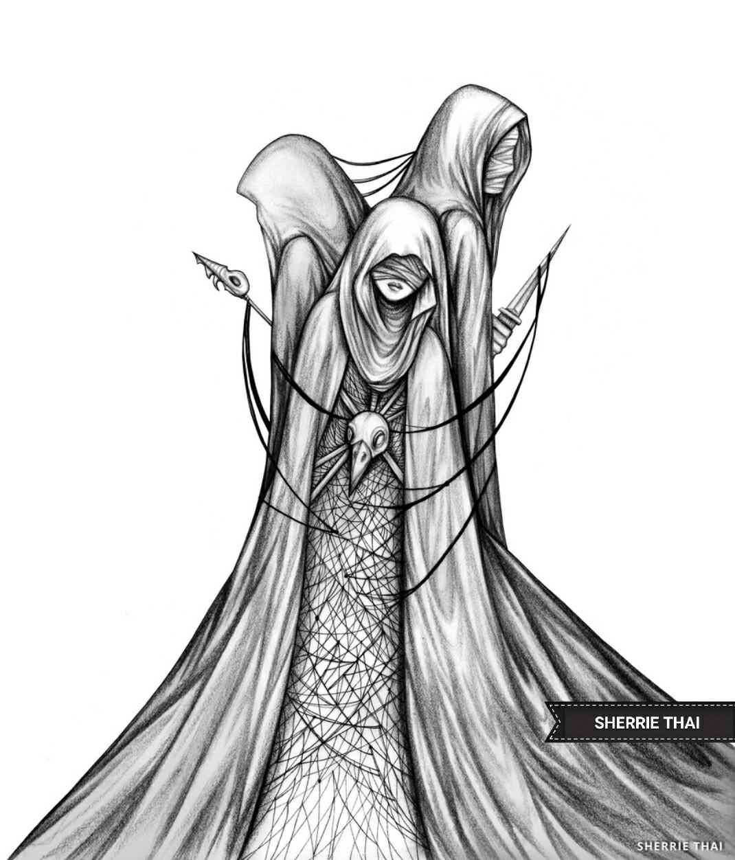 1070x1252 The Fates, Dark Fantasy Sketch Illustration Drawing. Black