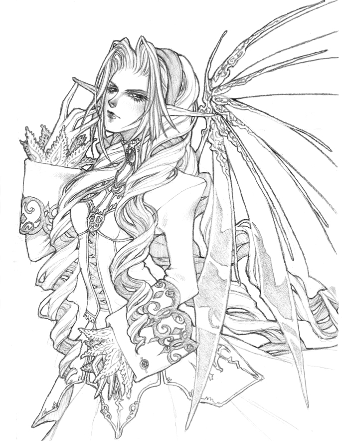 dark fantasy fairies coloring pages | Dark Fairies Drawing at GetDrawings.com | Free for ...