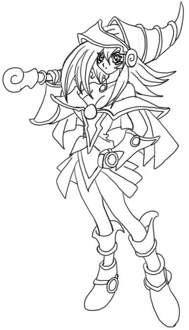 385x670 Dark Magician Girl Line Art 2 By Nightsangel666