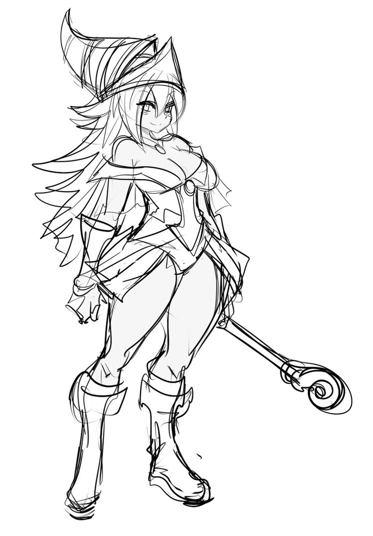 746x1071 Sketch Dark Magician Girl By Maniacpaint