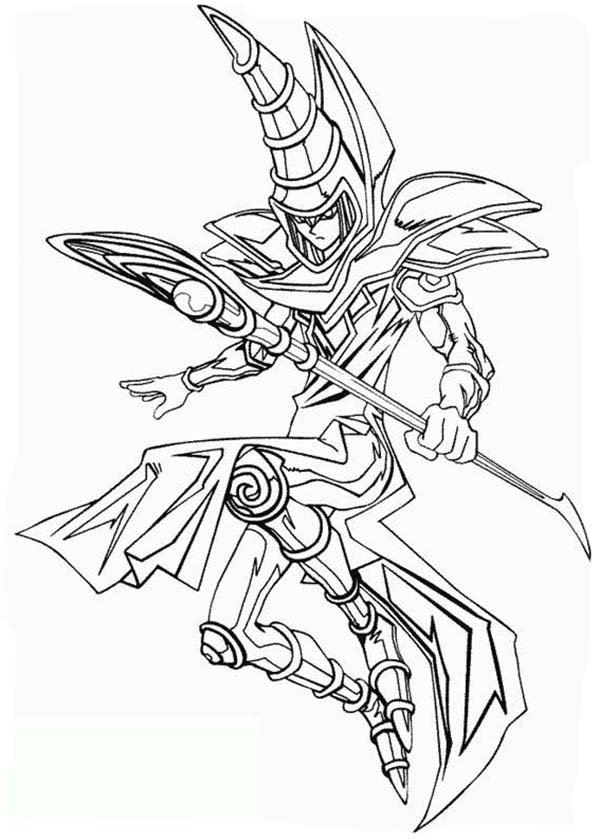 600x840 The Dark Magician From Yu Gi Oh Coloring Page
