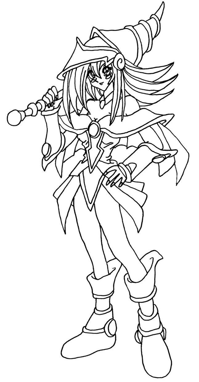 646x1238 Dark Magician Girl Blackwhite By Elfkena