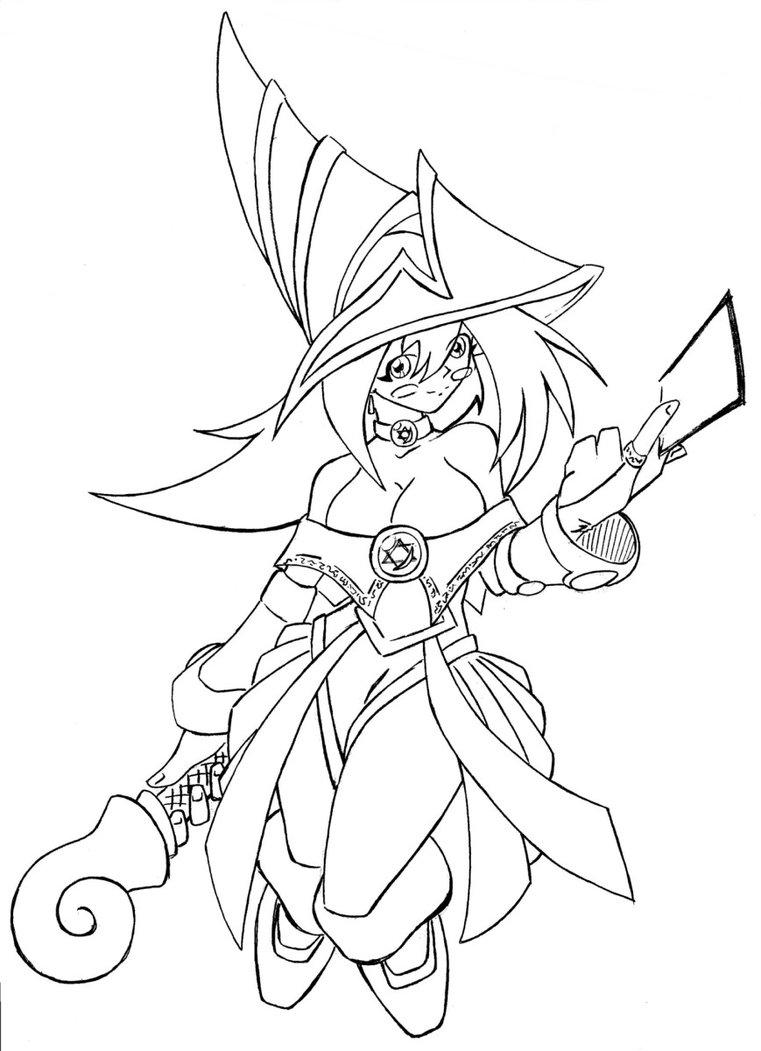 761x1051 Dark Magician Girl Lineart By N647