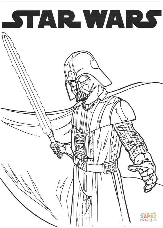 567x794 Darth Vader With Lightsaber Coloring Page Free Printable