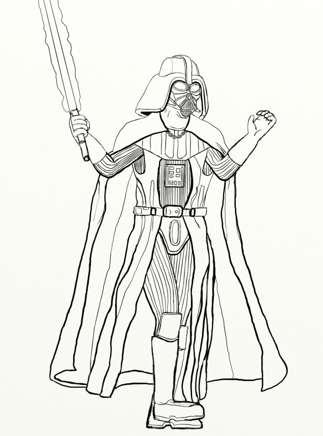 666x900 Drawn Darth Vader Lined