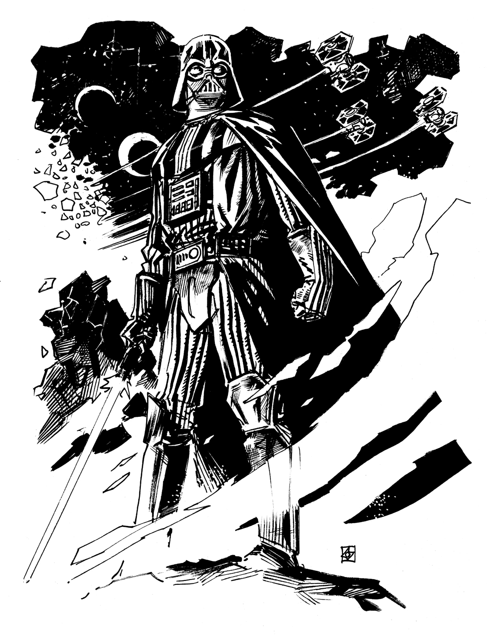 1000x1306 Here Is A Pencil Drawing Of Darth Vader. Draw Darth Vader Step 9