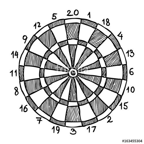 500x500 Cartoon Image Of Dart Board Icon. Dart Symbol. An Artistic