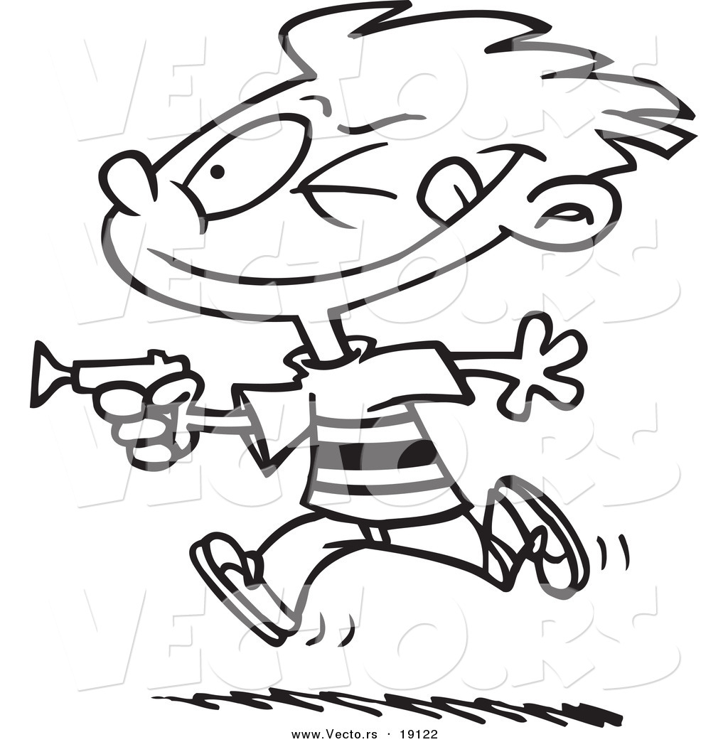 1024x1044 Vector Of A Cartoon Boy Playing With A Dart Gun