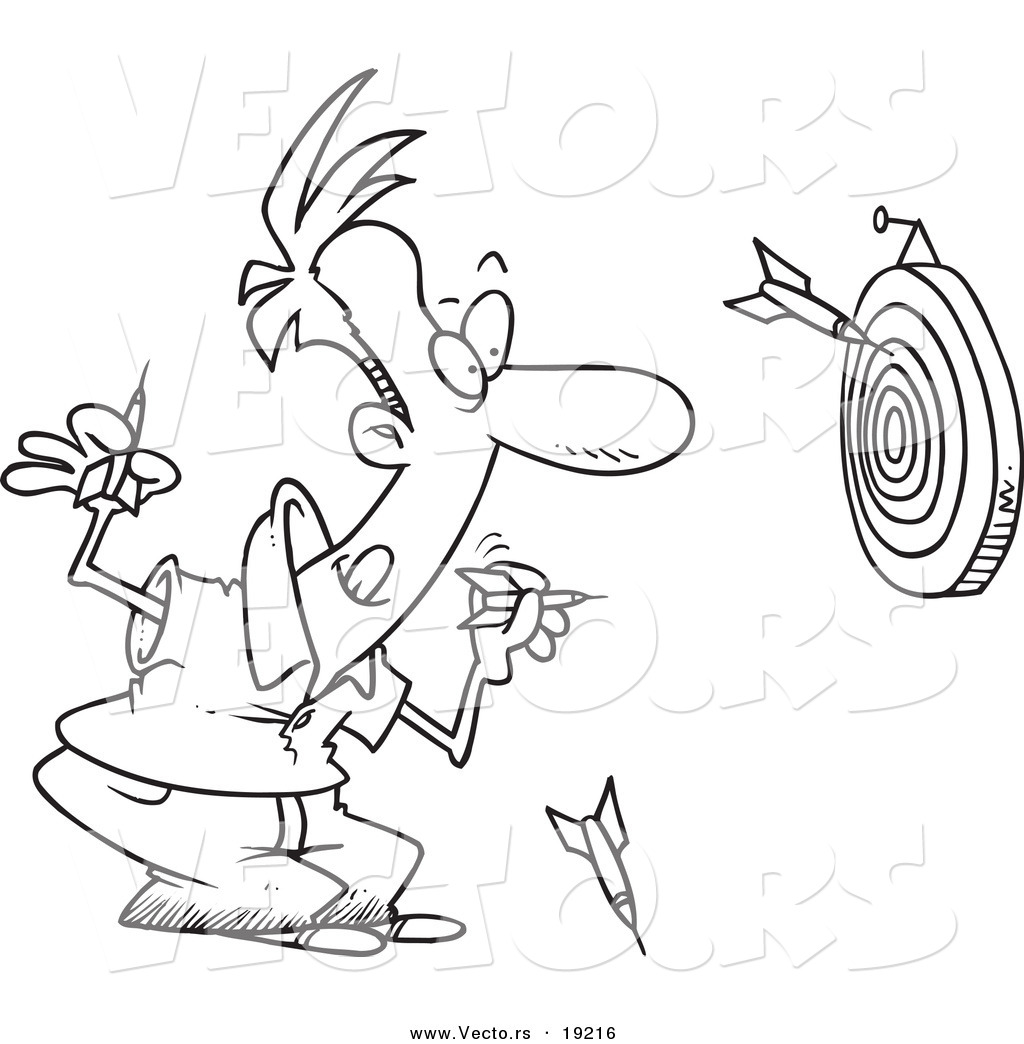 1024x1044 Vector Of A Cartoon Man Throwing Darts