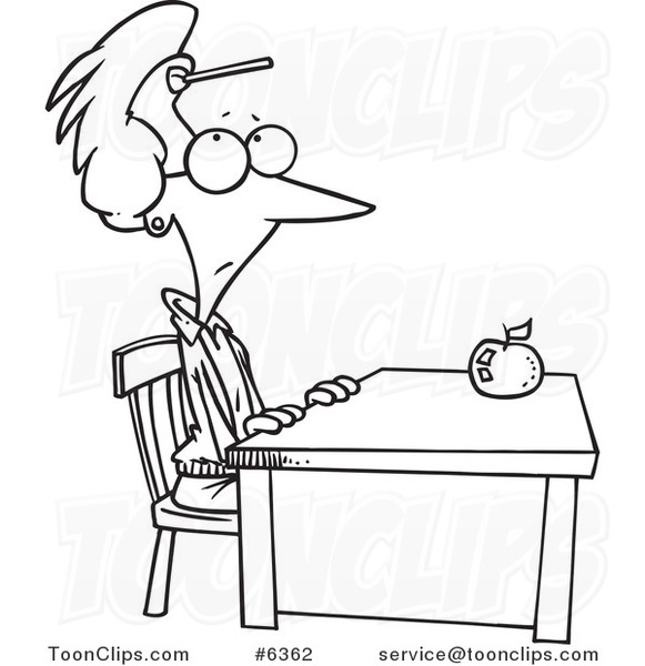 581x600 Cartoon Black And White Line Drawing Of A Teacher Sitting