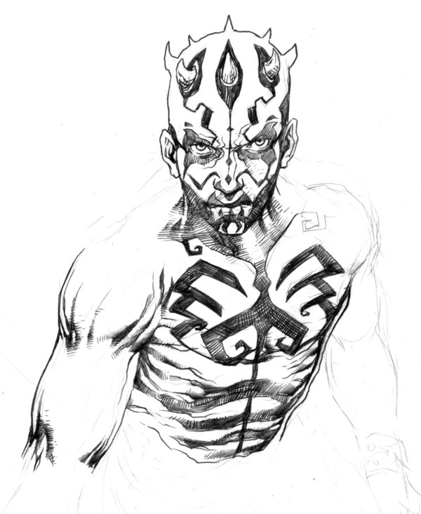 600x733 Darth Maul Quick Drawing By Niezamcomic