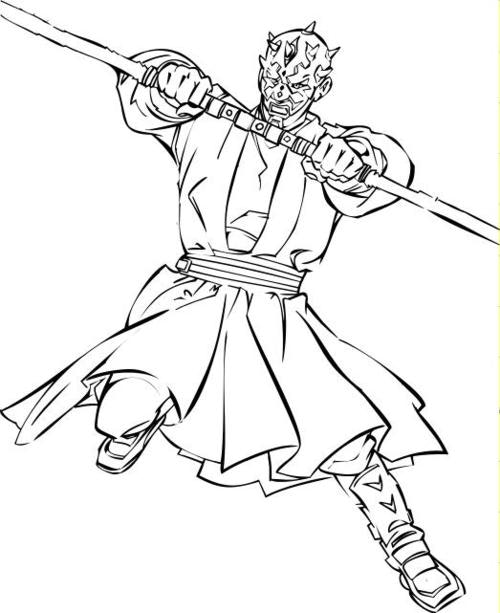 500x613 Inspiring Darth Maul Coloring Pages 35 In Line Drawings With Darth