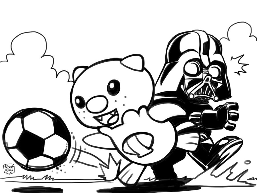 900x675 Oshawott Vs. Darth Vader In Soccer By Holaso