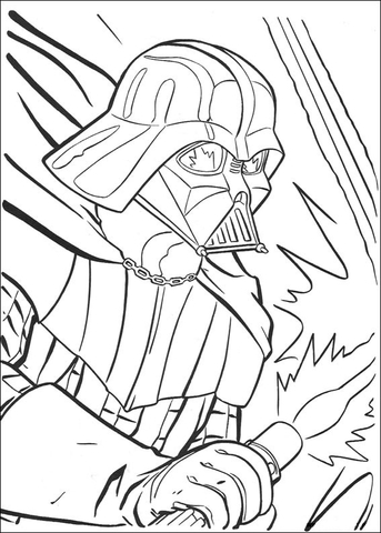 343x480 Darth Vader Fighting Coloring Page Free Printable Coloring Pages