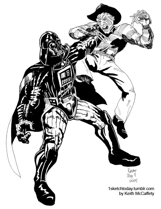 560x728 Darth Vader Vs. Freddie Krueger A Sketch From 2005. I Think We