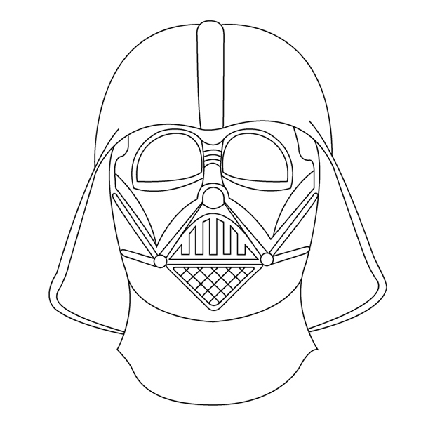 600x614 Drawn Darth Vader Outlined
