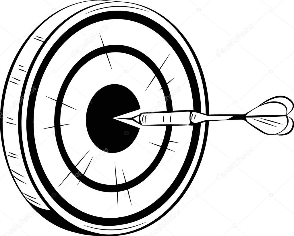 1024x823 Dart On Target For A Bulls Eye Stock Vector Businessdoodles