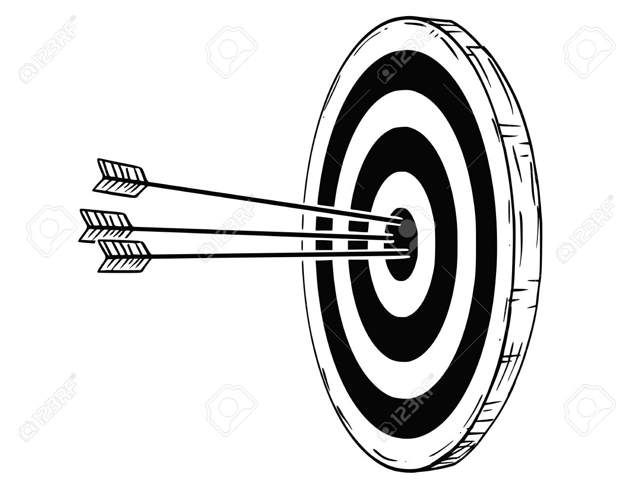 1300x994 Cartoon Drawing Conceptual Illustration Of Target, Dartboard