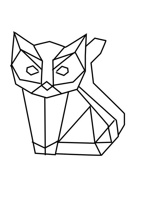 600x842 Geometric Geometrique Cat Chat Art Cat, Origami