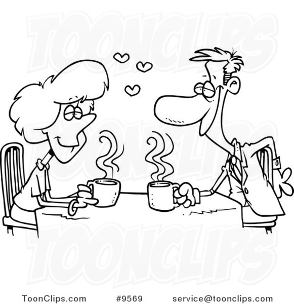 581x600 Cartoon Black And White Line Drawing Of Coffee Lovers On A Date