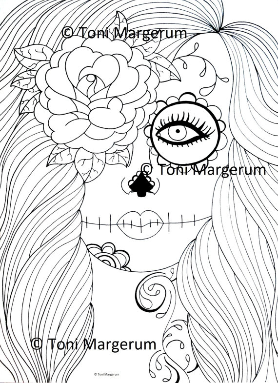570x785 Adult Coloring Page Sugar Skull Girl Art Day Of The Dead