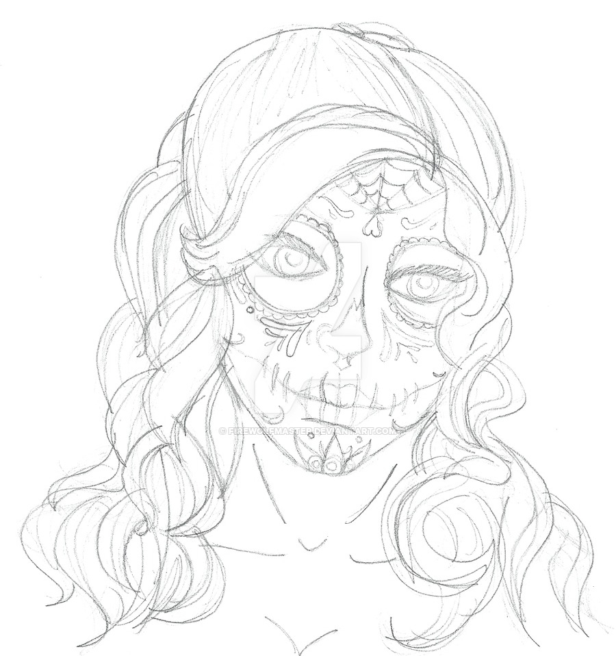 900x958 Day Of The Dead Girl Drawing