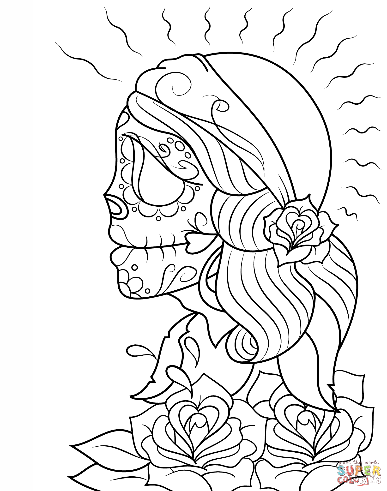 1612x2046 Day Of The Dead Girl Skull Coloring Page Free Printable Coloring