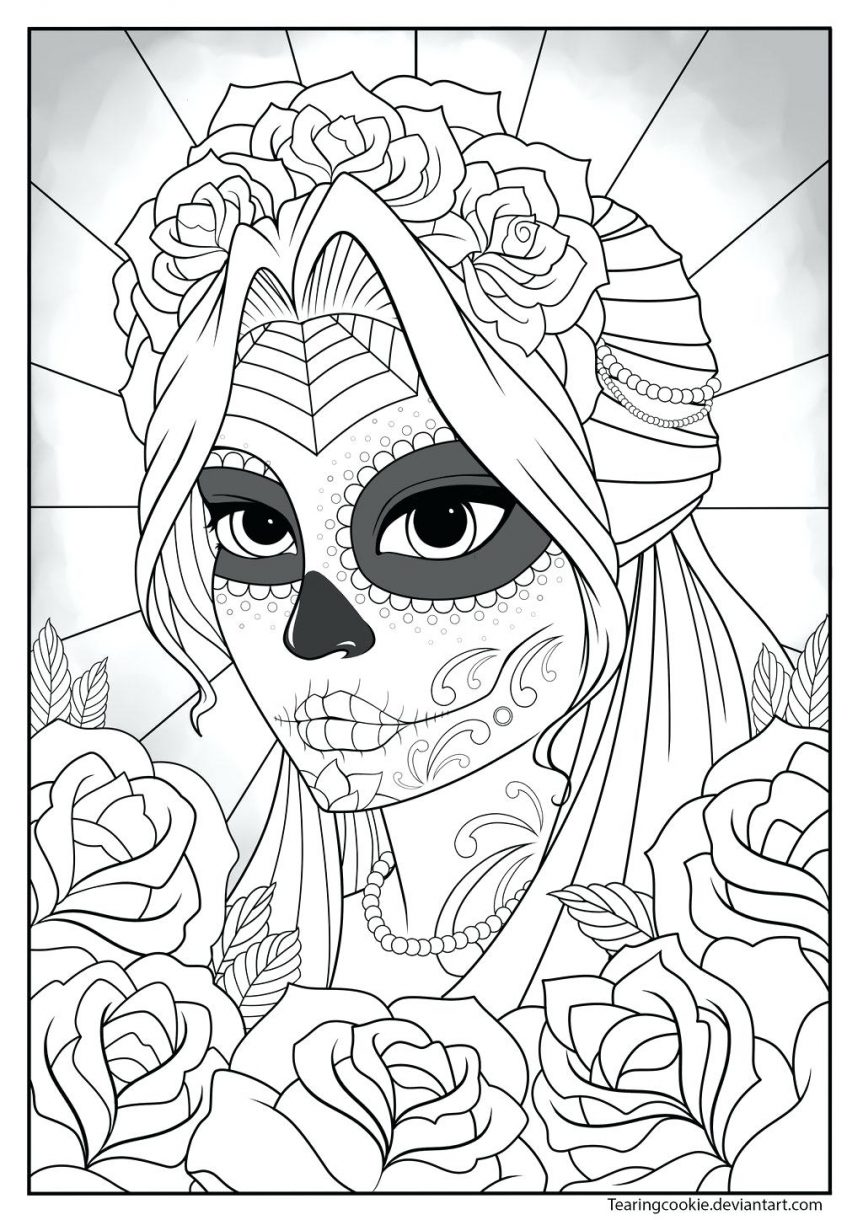 863x1220 Outstanding Day Of The Dead Sugar Skull Coloring Pages Adults