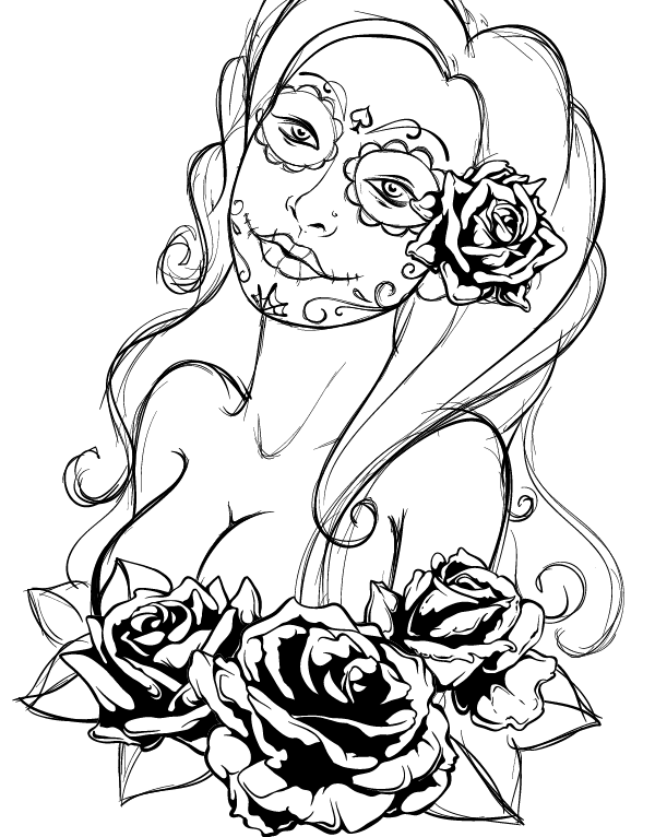 600x766 Create A Tattoo Style, Grunge, Day Of Dead Girl Poster In Illustrator