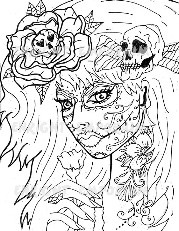 570x738 Day Of The Dead Girl Coloring Page Digital Download