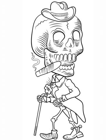 363x480 Day Of The Dead Skeleton Coloring Page Free Printable Coloring Pages