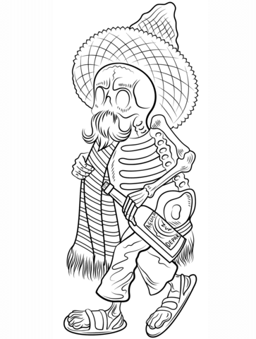 363x480 Day Of The Dead Skeleton In Poncho And Sombrero Coloring Page