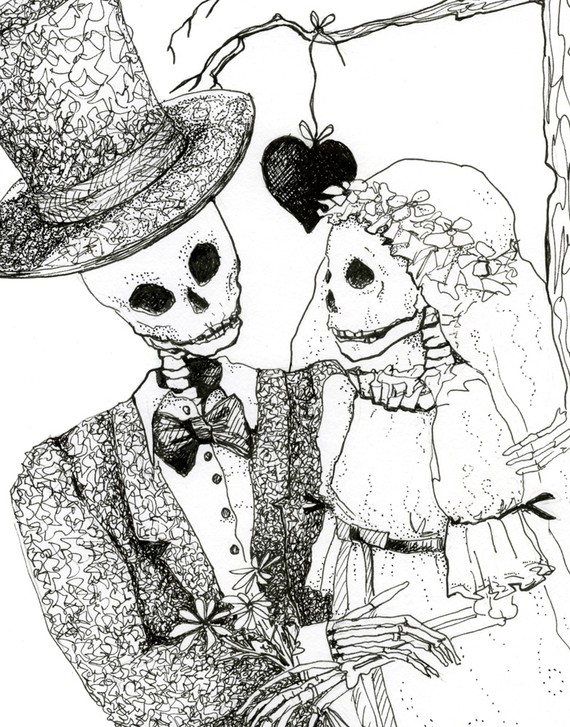 570x727 Skeleton Drawing Day Of The Dead Pen And Ink Skeleton