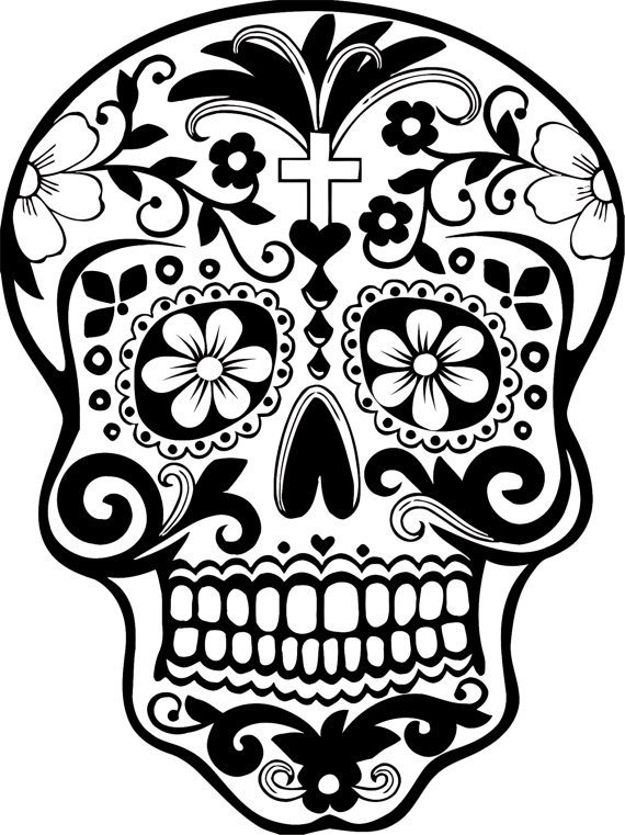 570x761 Sugar Skull Wall Vinyl Decal Sticker Art Graphic Sticker