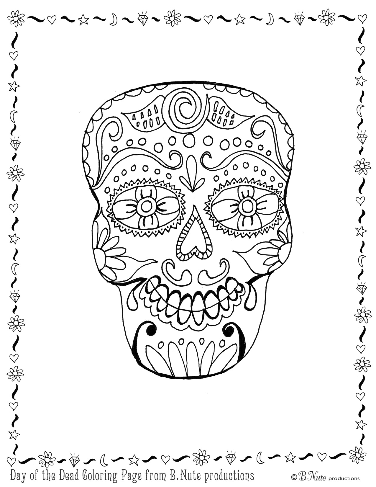1275x1650 Bnute Productions Free Printable Day Of The Dead Skull Coloring Page