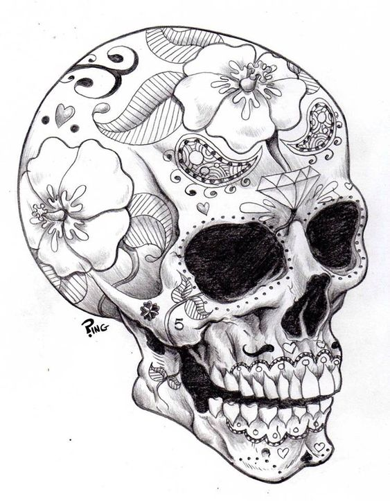 563x723 Day Of The Dead Skeleton Drawing