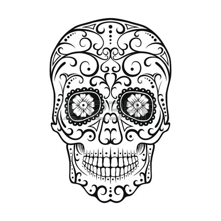 450x450 Day Of The Dead Skull. Skull Sugar Flower. Skull Tattoo. Vector