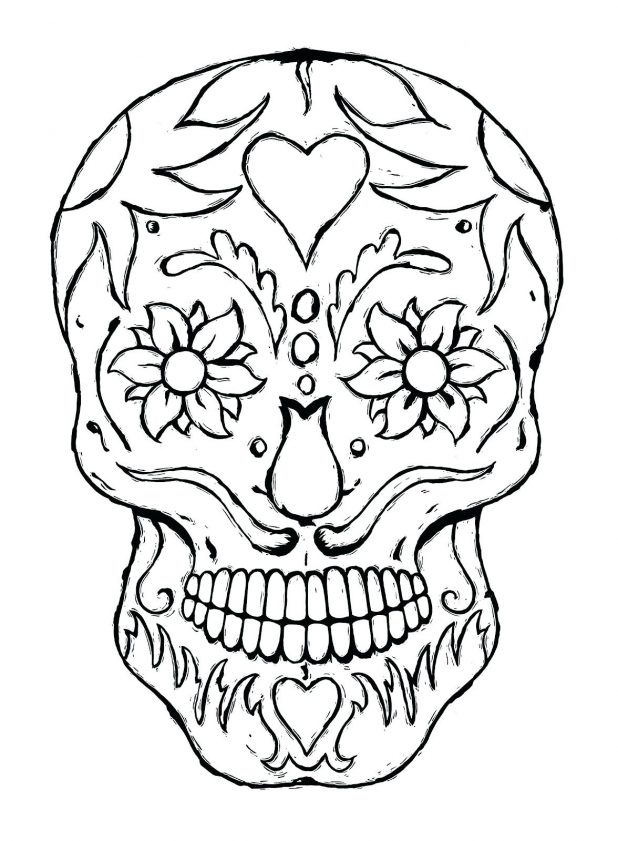 618x841 Day Of The Dead Skulls Coloring Pages A 91 Extraordinary Color