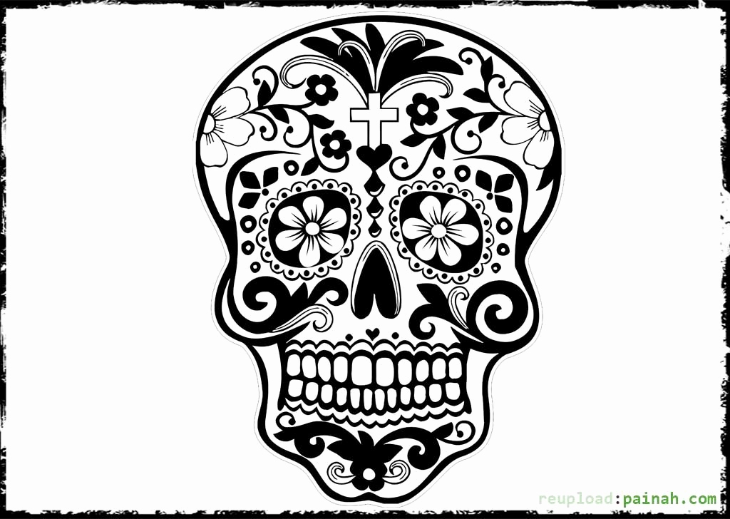 1024x728 Day Of The Dead Skull Coloring Pages Unique Day The Dead Skull
