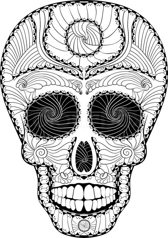563x800 Dia De Muertos. Illustration Of Traditional Mexican Skull