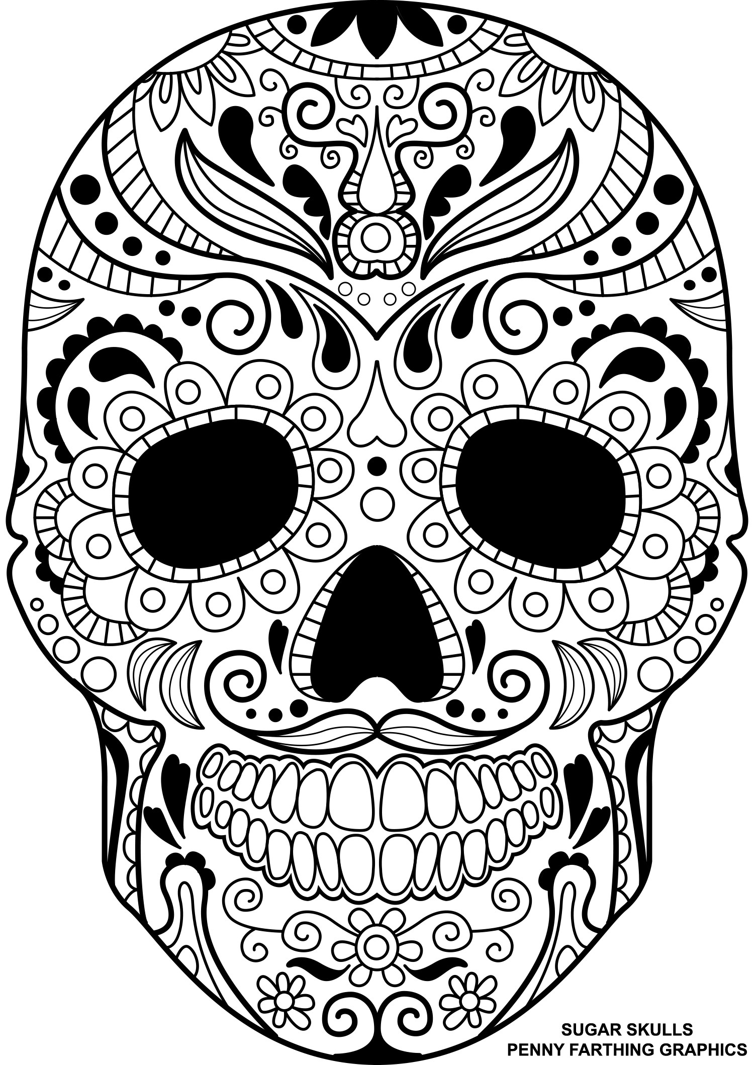 1500x2118 Skull Coloring Page Free Draw To Color
