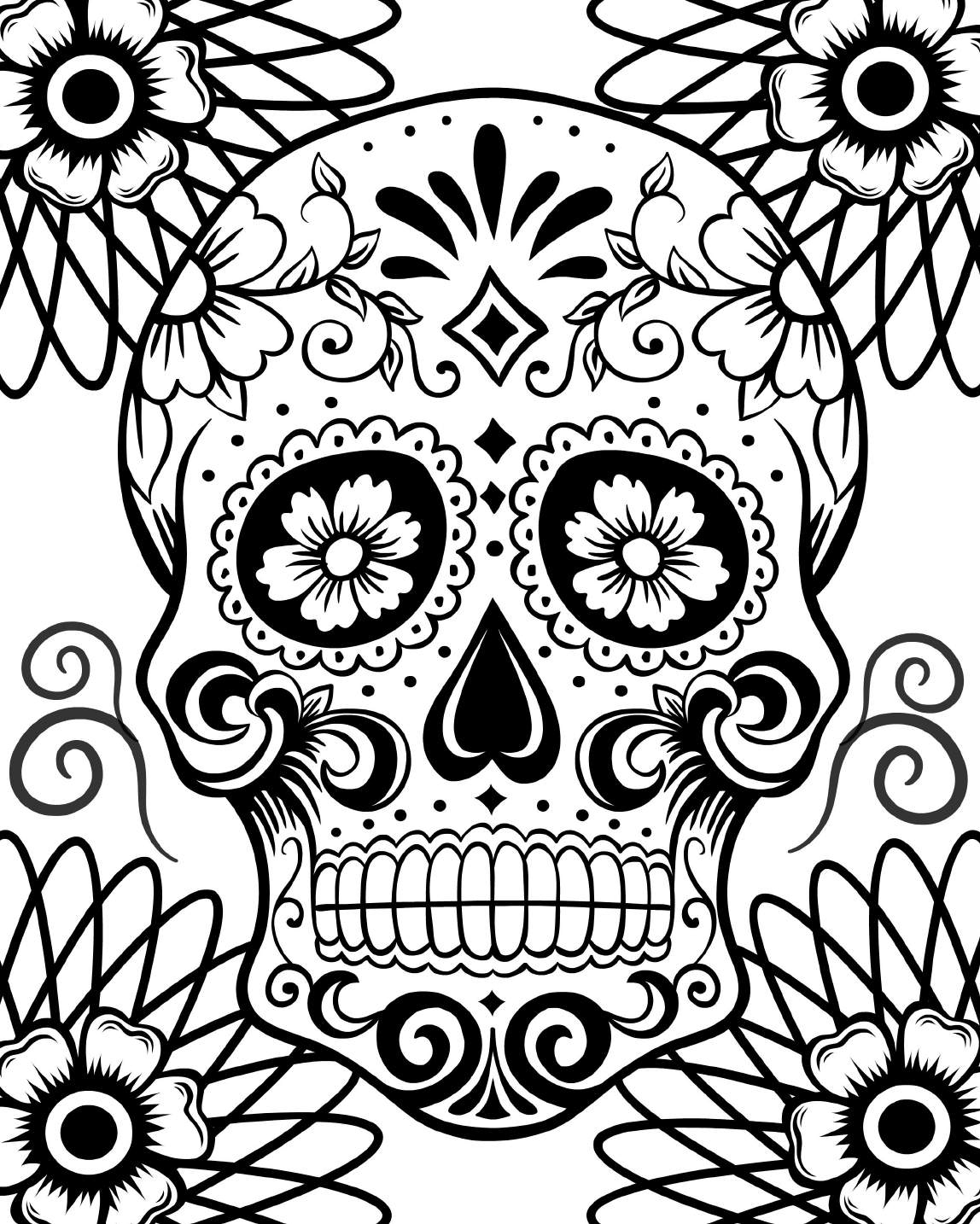 1148x1434 Skull Day Of The Dead Coloring Day Of The Dead Skull Coloring
