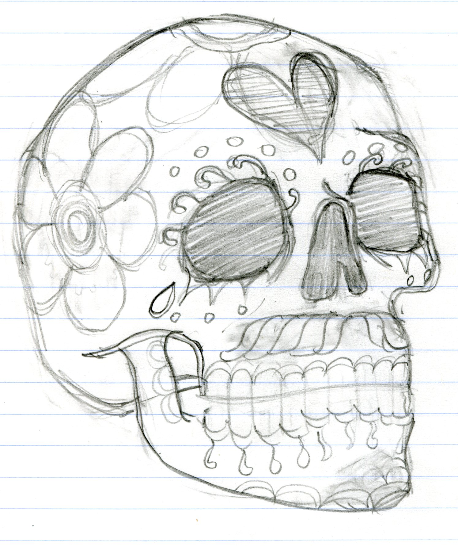 1495x1781 Day Of The Dead Skull. Sketch, Skeleton Doug's Stuff
