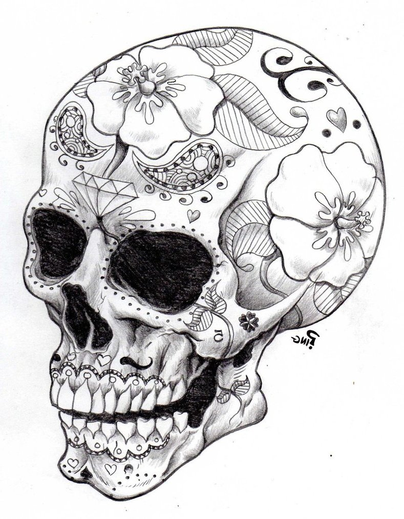 Day Of The Dead Skull Drawing at GetDrawingscom Free for personal
