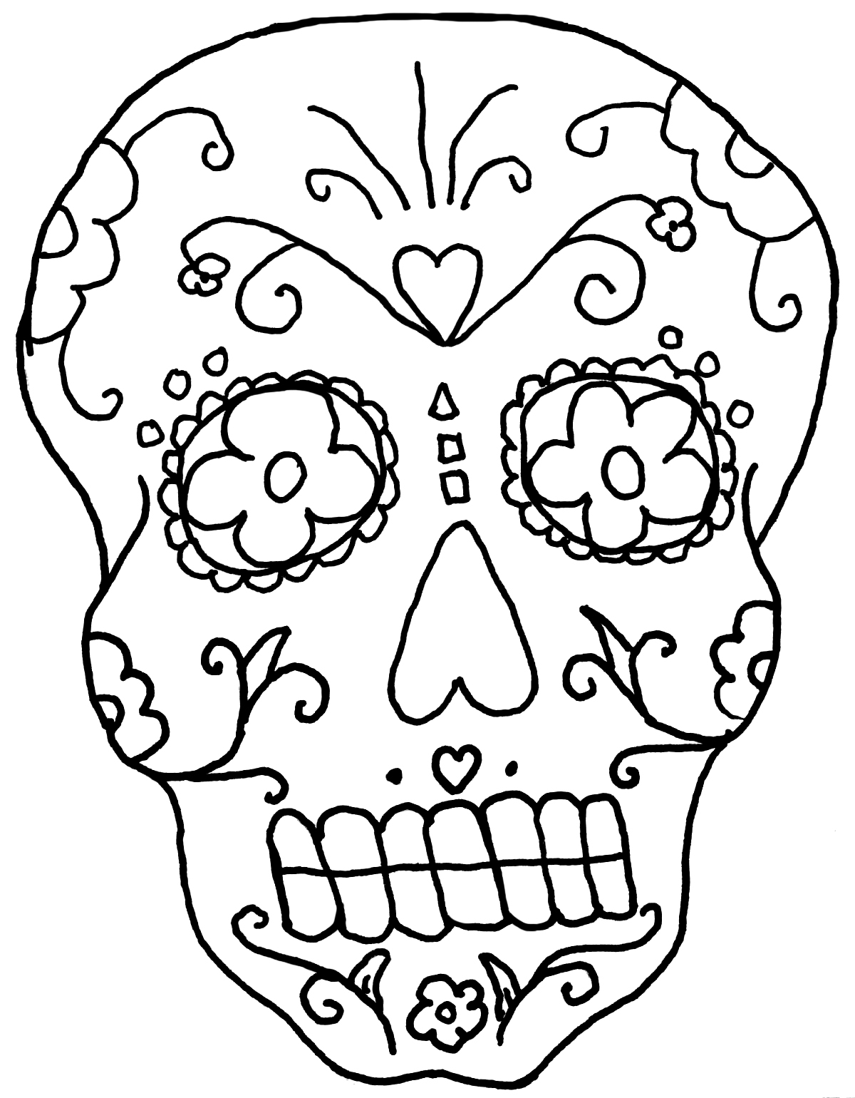 Day Of The Dead Skull Drawing at GetDrawings.com | Free for personal ...