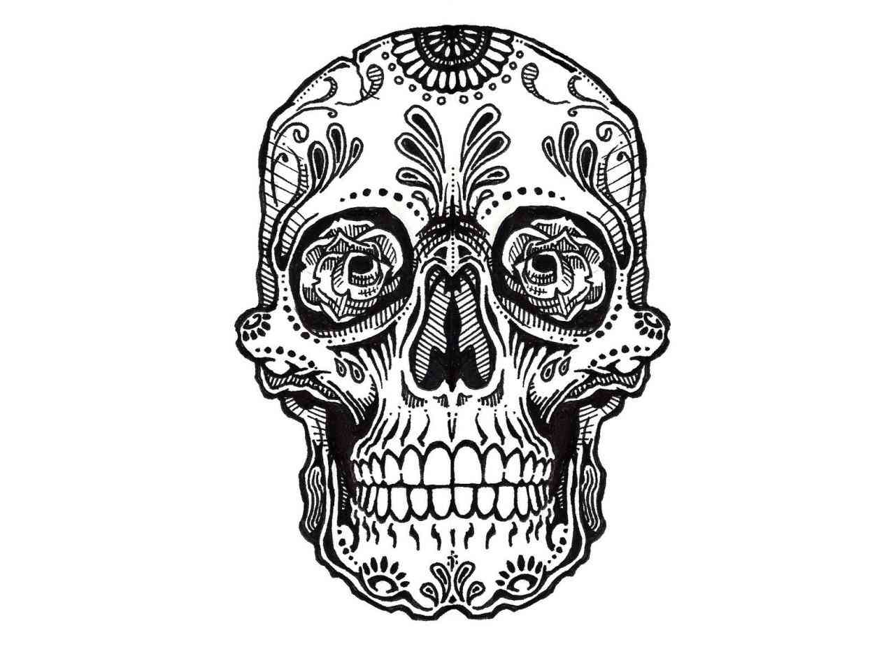1264x948 Day Of The Dead Skull And Roses