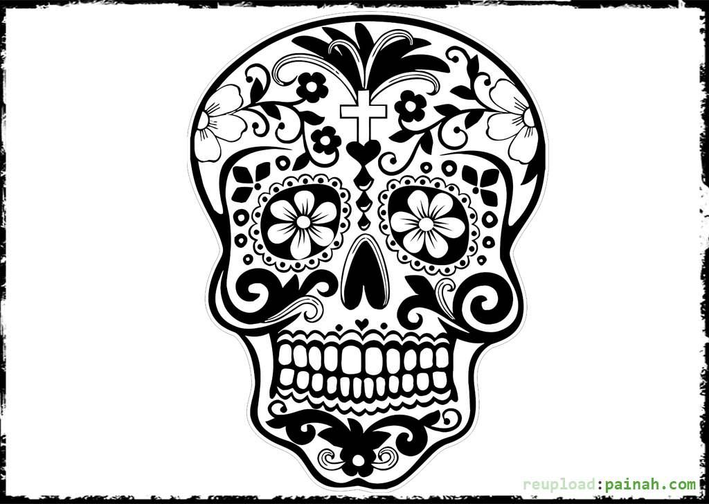 1024x728 Day Of The Dead Skull Free Coloring Pages Adult Coloring Pages