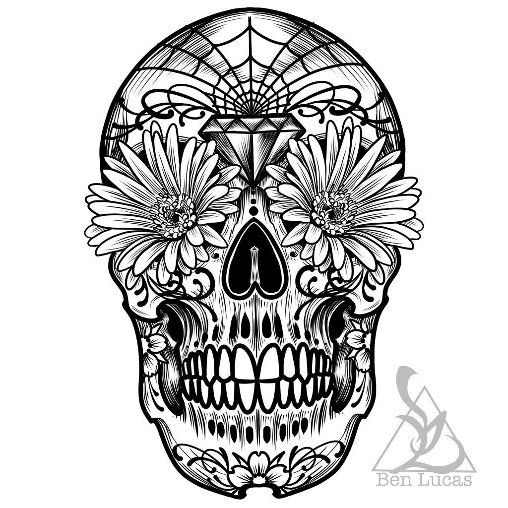 1024x1024 Day Of The Dead Sugar Skull Outline By Ben Lucas