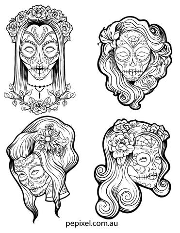 371x480 Female Sugar Skulls, Day Of The Dead, Halloween Coloring In Pages, She